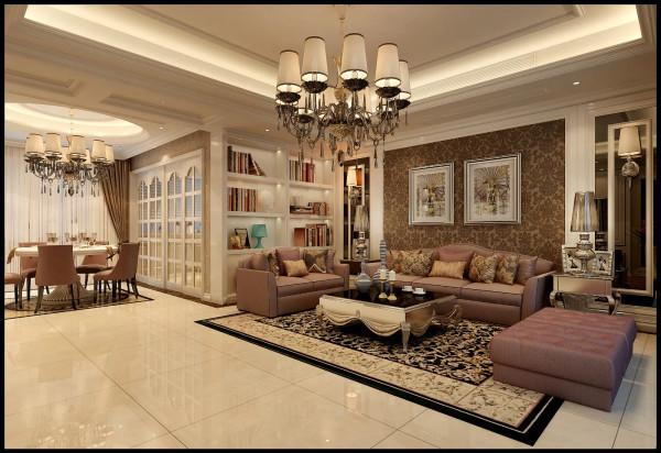 灰镜的运用,咖啡色墙纸的点缀,白色的地面让整个客厅层次感分明,空间具有灵动性                              色调的协调,欧式奢华的家具,水晶灯的搭配,让整个空间时尚而大气