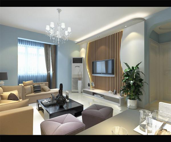 电视背景墙采用石膏板做的优美造型,既简单又大方,再加上色彩为竖条纹的壁纸,配上顶部照下来的灯光,整个电视背景墙把客厅提升起来。