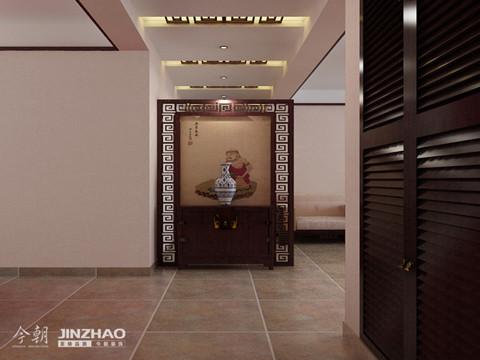 玄关:玄关的设计恰到好处的解决了走廊狭长的问题,镂空的纹饰设计与装式,显现出业主的非凡品位。