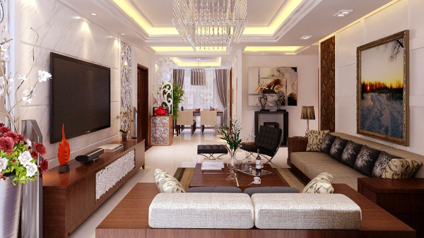 墙面造 型装饰运用典型象牙白色调凸显简欧风格,欧式的墙面造型和隔断彰显欧式的线 条美,简约而不简单。