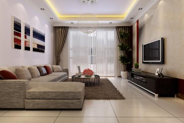 整体客厅的效果,简单,大方,阳光嗮进来,房间比较明亮。