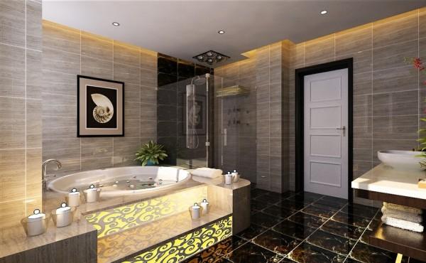 金色调的装饰,让卫浴间充满奢靡感 亮点:浴缸柔美的线条,朴实的砖石板块和装饰图纹与现代洁具巧妙结合,给人以精致、优美、典雅的感觉。