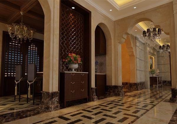 温哥华山庄别墅装修设计中式古典风格-走廊效果图