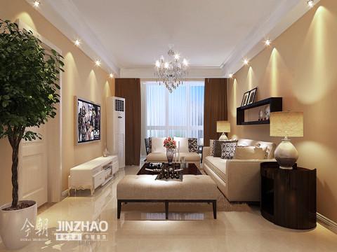 客厅:简约时尚的客厅,暖色调的墙纸与白色的顶部形成对比,在视觉上让客厅更加的时尚靓丽。