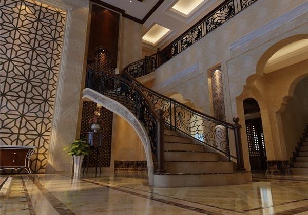 温哥华山庄别墅装修设计中式古典风格-楼梯效果图