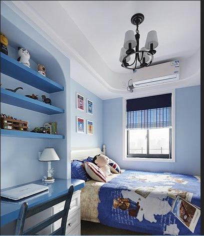 儿童房的设计,也是围绕着主色调,蓝与白。建筑中的圆形拱及回廊通常采用数个连接或以垂直交接的方式,在走动观赏中,出现延伸般的透视感