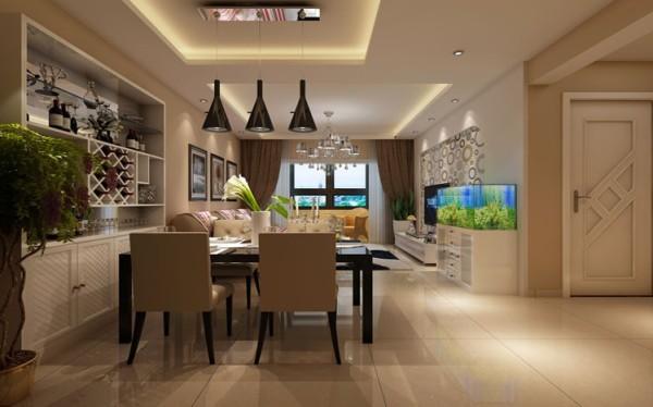 设计理念:选择现代的餐桌,使它在这个空间里是那么的自然,整个餐厅的色彩搭配非常舒服。 亮点:餐厅的壁画选择也很重要,尺寸、比例直接影响我们的视觉感官。