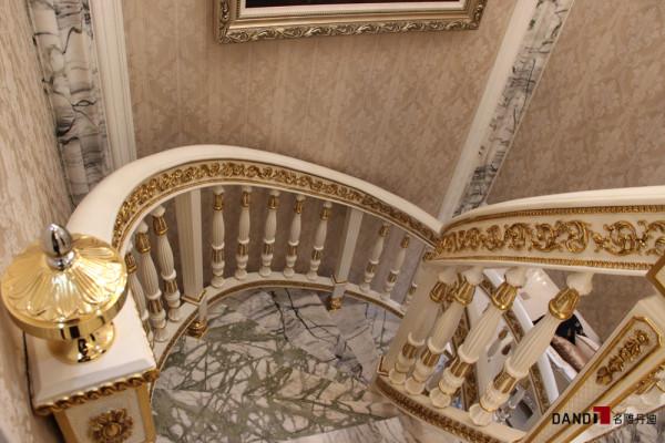 名雕丹迪别墅一体化,东海花园别墅豪宅设计,现代简欧风格楼梯
