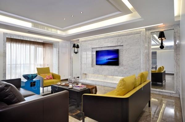 简约欧式风情电视墙造型,石材的效果真的不一般!