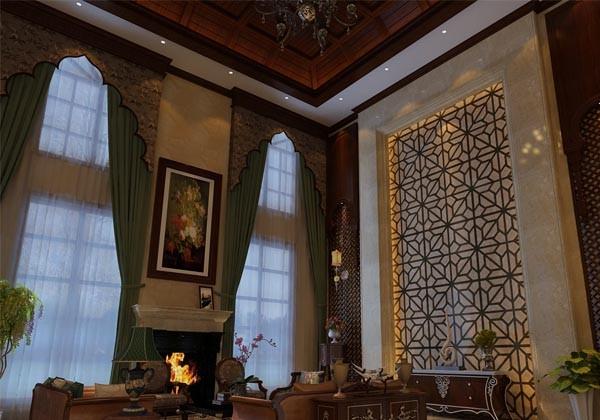 温哥华山庄别墅装修设计中式古典风格-客厅背景墙其中的一种效果图