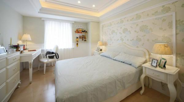 卧室床头背景墙和整个空间结合,是整个房间最有特色的图片