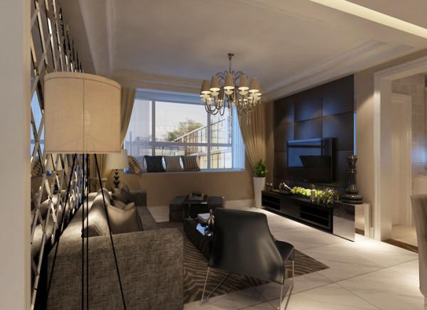 亮点:电视背景墙采用皮艺软包,让空间局部和整体的搭配和谐,简约而不简单。深灰色布艺沙发给予人端庄,大气的感觉,而毛皮地毯则给人活泼,开放的视觉享受。