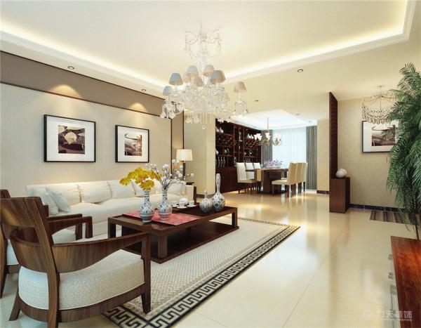 墙面采用暖色花纹壁纸,营造温馨柔和的感觉。客厅线条明朗简洁的布艺沙发 ,柔软的抱枕,软包沙发和电视背景墙,在温暖的灯光下享受休憩的时光。