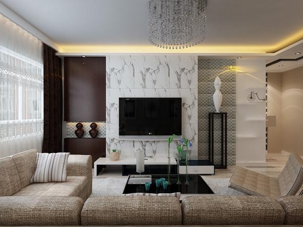 客厅电视背景墙用墙砖上墙,简洁大方,两边用不同的材料体现了不对称的时尚效果,使电视墙更突出。