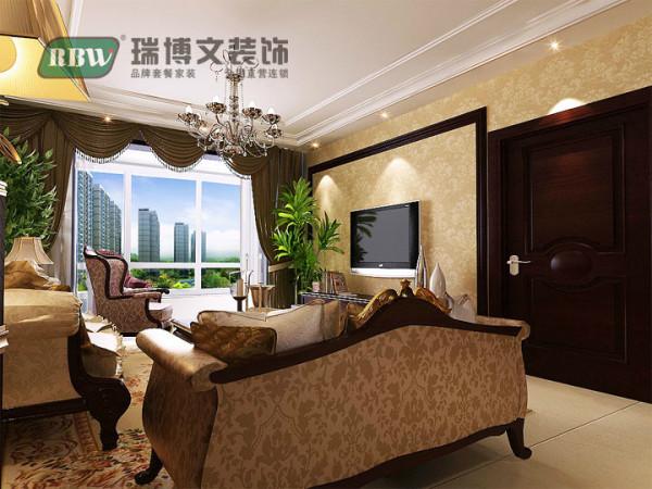 因卧室门隔挡大大占用了电视墙的空间,不易再做复杂造型,因此电视墙比较简单,大量的壁纸的运用显得整个空间看起来不再突兀,搭配合理,扩大了客厅的整体空间感!