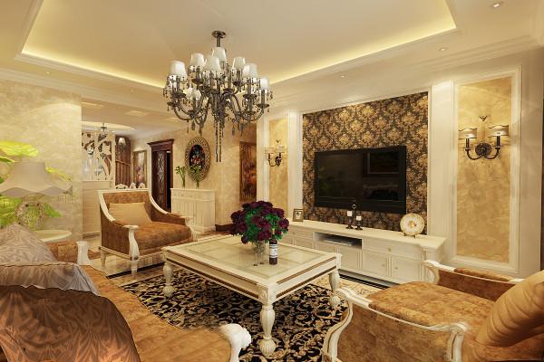 客厅二客厅电视背景墙设计理念:白色实木框架,碎花布艺配以白色花纹大理石,高雅欧式壁纸,尽显简欧的精致唯美。 亮点:精致的壁灯是整面背景墙的点睛之笔,再加上欧式壁纸的陪衬更加唯美。