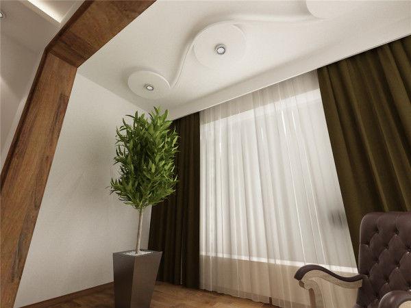 客厅一角落,一颗植物点缀
