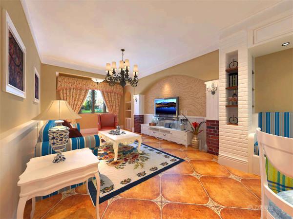 本次的方案主要运用了黄色和白色,土黄色的墙面、白色是文化砖及白色的腰线,与蓝白色的餐厅桌椅,拱形的电视背景墙造型