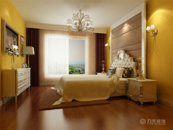 卧室整体温馨舒适,床头背景以软包的形式,配以白色的家具加上大飘窗充足的采光使床头增加活力。