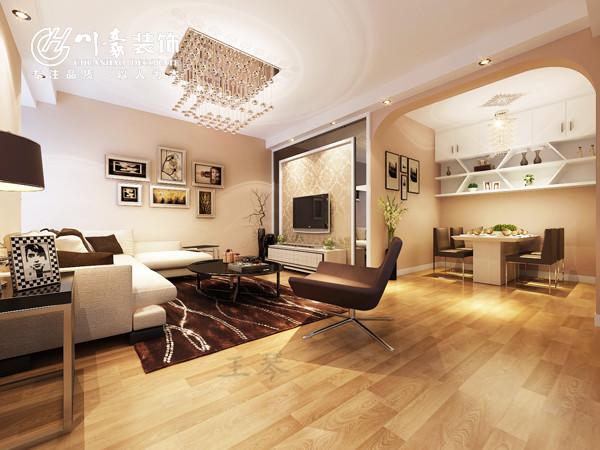 宝业城市绿苑89㎡温馨婚房装修设计,客厅装修设计效果图。