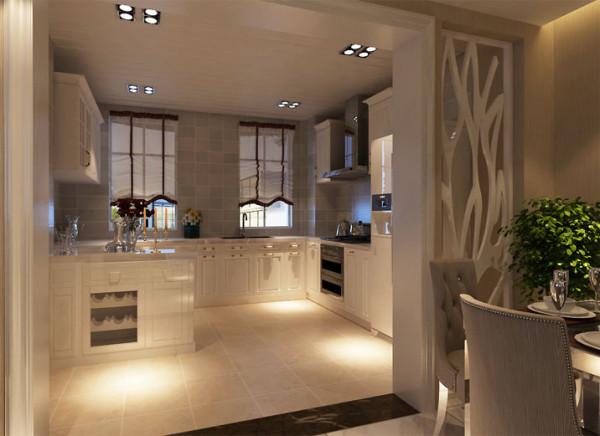 设计理念:敞开式厨房使空间既分割成两个区域,又能巧妙地结为一体 亮点:白色的橱柜让厨房看起来更加洁净明亮,搭配米黄色地砖,给人一种视觉上的欢快感,让做饭成为一件愉快的事情。