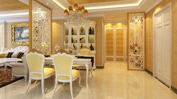 本案独到的设计语言,本案整个空间以米色调为主,客厅祥云装饰墙给人 以细腻、沉稳的感觉。