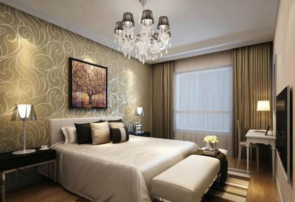 为了保持整个房间的风格统一,卧室同样采用浅咖啡色作为主色调,采用实木地板铺设,提升空间品质。背景和地毯的线条走向,则为卧室带来更多的活力。