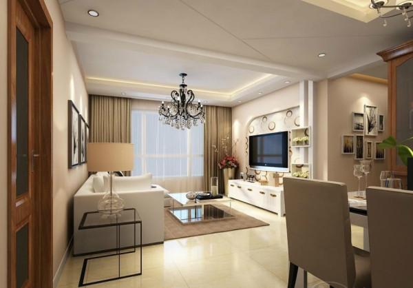 客厅采用舒适具有现代感的家具搭配,电视墙采用简易的花纹装饰,创意格子的加入,使原本简单的空间多了几分清新之气,在咖啡色的地毯和窗帘妆点下,客厅更多了几分韵味。