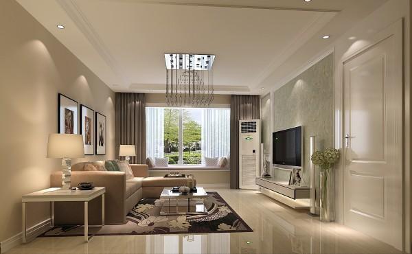 在地毯和挂画等后期配饰的选择上以明度高的彩色为主增加了整个空间的灵动性