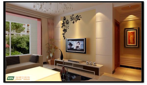 电视背景墙采用石膏板拉缝处理,配合颜色漆,简单不失装饰性,满足了客户的要求。 地面均采用大地砖,层高较低,采光不太好,所以选择颜色较浅的抛光砖,针对较忙的上班族比地板易清理。