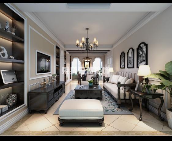 室内整体以白色为主基调,辅以米白色及材质,营造出明亮利落的空间视觉效果,部分家具采用黑胡桃木贴面,地面通体铺装复古地砖,让时尚简约的空间氛围中融入自然、温馨、舒适、内敛的设计元素。