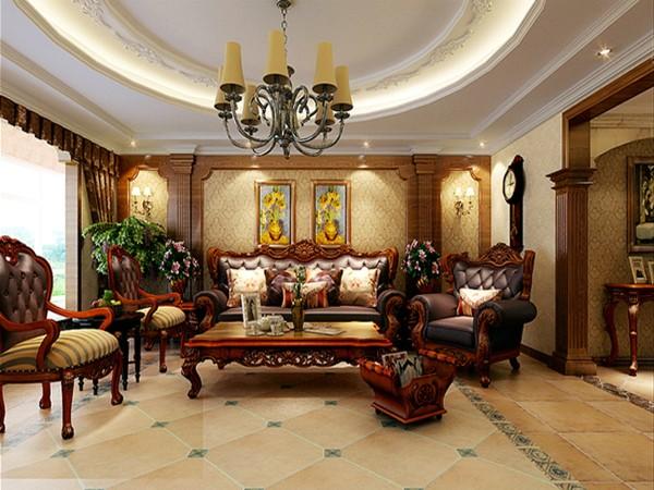 客厅作为待客区域, 力求明快光鲜,材质主要以石材和木饰面做装饰地砖采用仿古砖是整个客厅达到宽敞而富有历史气息。