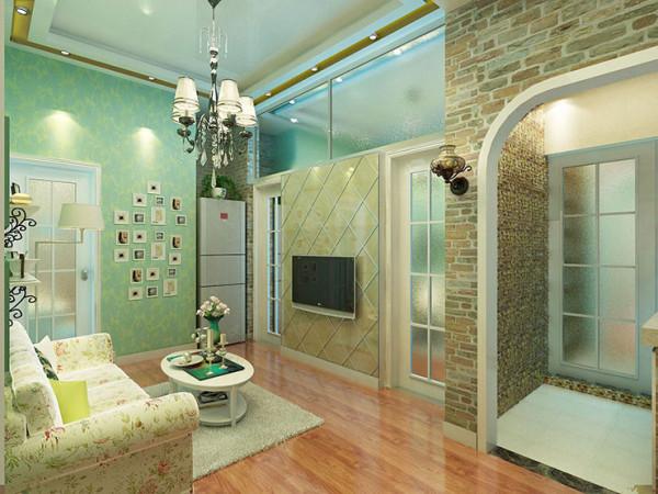 背景墙采用金属拉丝石材和玻璃
