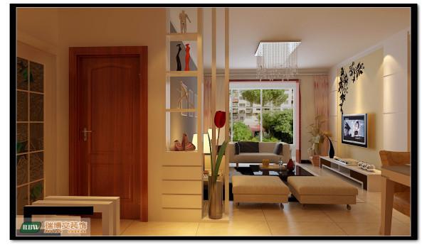 客厅过道延伸到卫生间,把卫生间的墙面做了装饰,使每一个细节都充满设计。 入口玄关隔断,使客厅不那么暴露。
