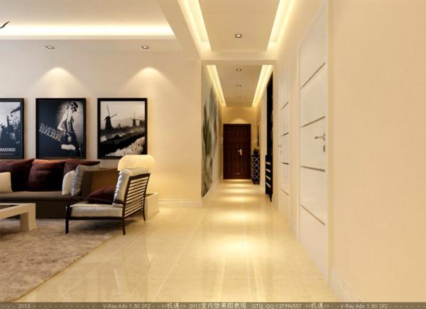从玄关设计到客厅到卧室,都围塑出空间落落大方的现代时尚气势。简洁和实用是现代简约的基本特点。适度的装饰也能起到不少点缀的作用。