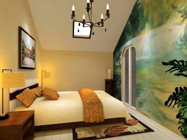 设计理念:卧室采用了经典美式灯具,墙面则采用浅黄色色调,使空间温馨舒适的居住感受