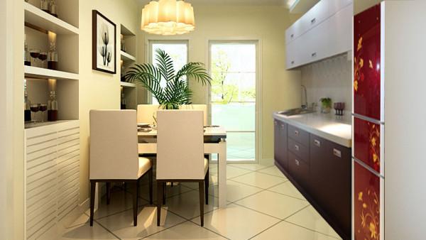 设计上通过简约的直型造型吊顶,把一个区域的划分做了 一个很好的诠释,空间上的合理利用赢得了业主很高的认可,开放式的厨房 设计在空间和功能上的使用体现的淋漓尽致。整体设计打造出了家的温馨、 浪漫与幸福。