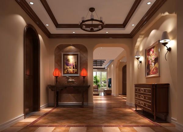 整个别墅外观具有古堡式情调,而业主恰恰不是很喜欢这种格调,她希望设计体现简洁、优雅大方的格调,且与建筑外观有机融合为一体。因此,设计师大胆采用美式、欧式、地中海等元素与托斯卡纳相结合。