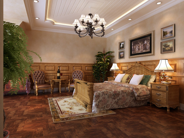 中天御园 200平米 托斯卡纳风格 卧室设计