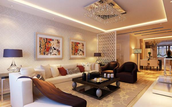 从材质到颜色到造型的精心搭配,使空间明快起来与壁纸完美结合的沙发背景墙,前后呼应,相得益彰。配以浅色布艺沙发,一个干净明亮的家展现在面前。