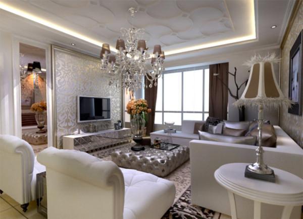 大的落地窗为居室增添了采光,通过电视墙两边的镜子为房间拉伸了宽度