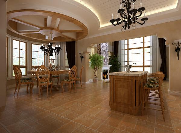 中天御园 200平米 托斯卡纳风格 大厅区域设计