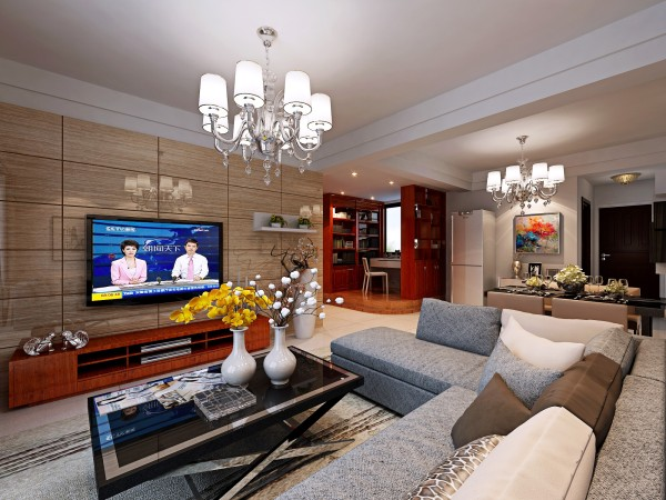 宝业东城广场-6.5万打造现代简约-两居室-客厅电视背景装修效果图