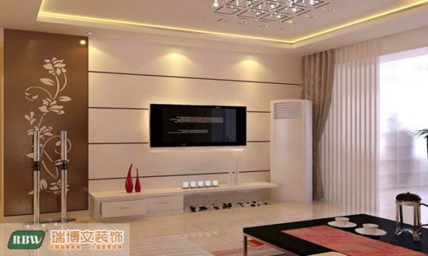 客厅的电视背景采用了装饰性较强的,烤漆玻璃点缀,在石膏板简洁线条映衬下,更灵动的体现现代感与家居生活的完美融合,局部配以装饰性很强的灯光,