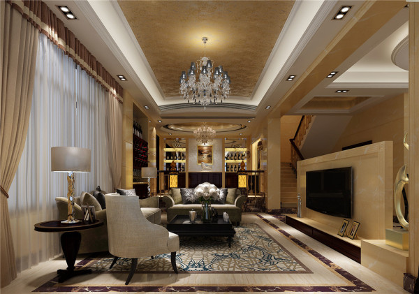 设计理念:金箔天花吊顶金黄墙砖,水晶大吊灯,欧式花纹地毯,塑造一个稳重的客厅。亮点:酒柜的透光石是整个空间点晶石,让整个空间活跃不沉闷而高调。