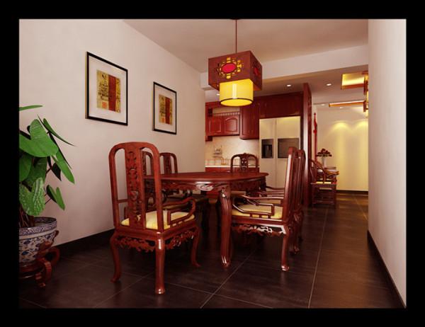 红木餐桌椅与金戈铁马地砖相辉映,大气脱俗。