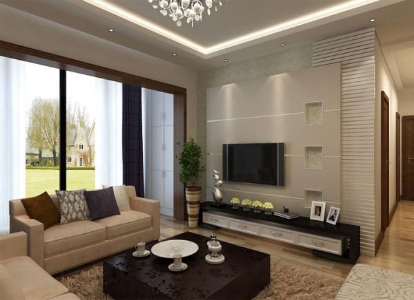 设计理念:以强烈的线条感搭配二阶反光灯槽的层次感,使整个较小的客厅空间显得更大气温馨。 亮点:利用简单的黑白色调凸显石膏板线条的层次感,使空间显得简洁大方干净得体。