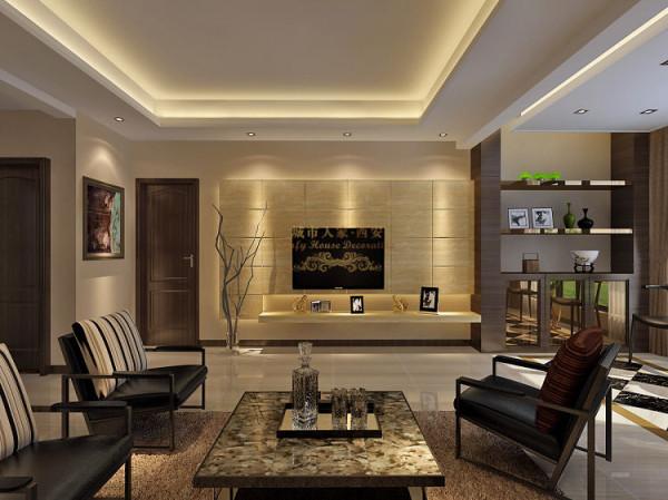 电视墙采用石材构成原理设计,暗藏LED灯带,使客厅重点突出,墙面层次感增强。
