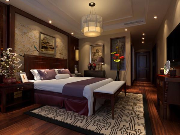 卧室为古典中式风格,运用花鸟壁纸、木窗格等中式元素打造出中式风格的卧 室。