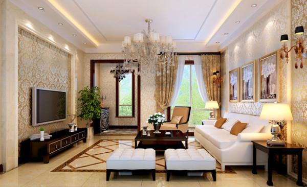 墙面壁纸为欧式花纹,烘托出华丽感。 而家具都是线条简洁明快的格调。